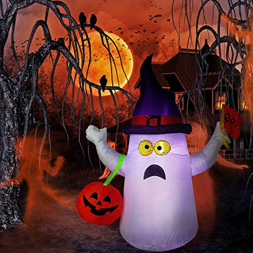 Hip Mall Halloween Inflatable Ghost, 4ft Lighted Blow Up Ghost Witch Hat Jack-O-Lantern Halloween Indoor Outdoor Yard Lawn Decoration -
