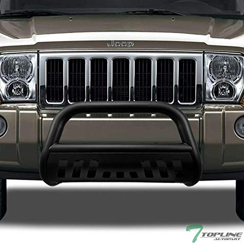 Topline Autopart Matte Black Bull Bar Brush Push Front Bumper Grill Grille Guard With Skid Plate For 05-07 Jeep Grand Cherokee ; 06-10 Commander