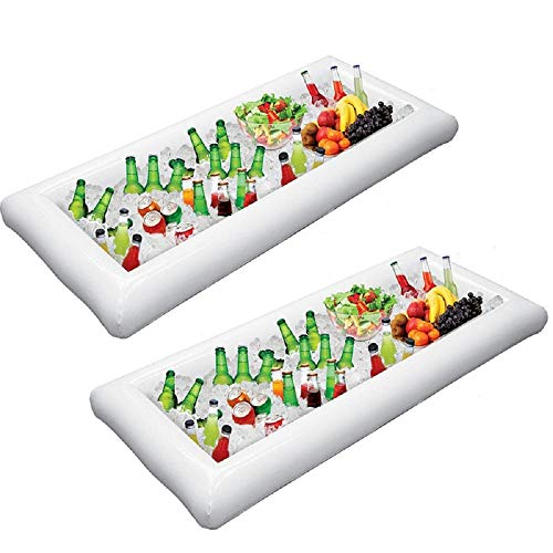 MGparty Cold Drinks Holder Inflatable Serving/Salad Bar Tray Food Drink Holder with Drain Plug for Pool Parties, BBQ,Tailgates and More (Pack of 2) (The Best Tailgate Food)
