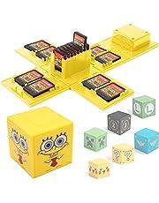 KUEEN game opbergkoffer voor Switch met 16 spelpatroner hållare förvaringsbox skyddande PC hårt skal för Switch (SpongeBob Yellow)