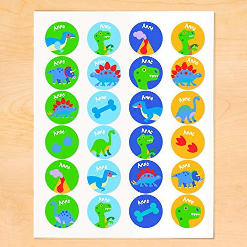Dinosaur Personalized Round Waterproof Labels By Olive Kids -