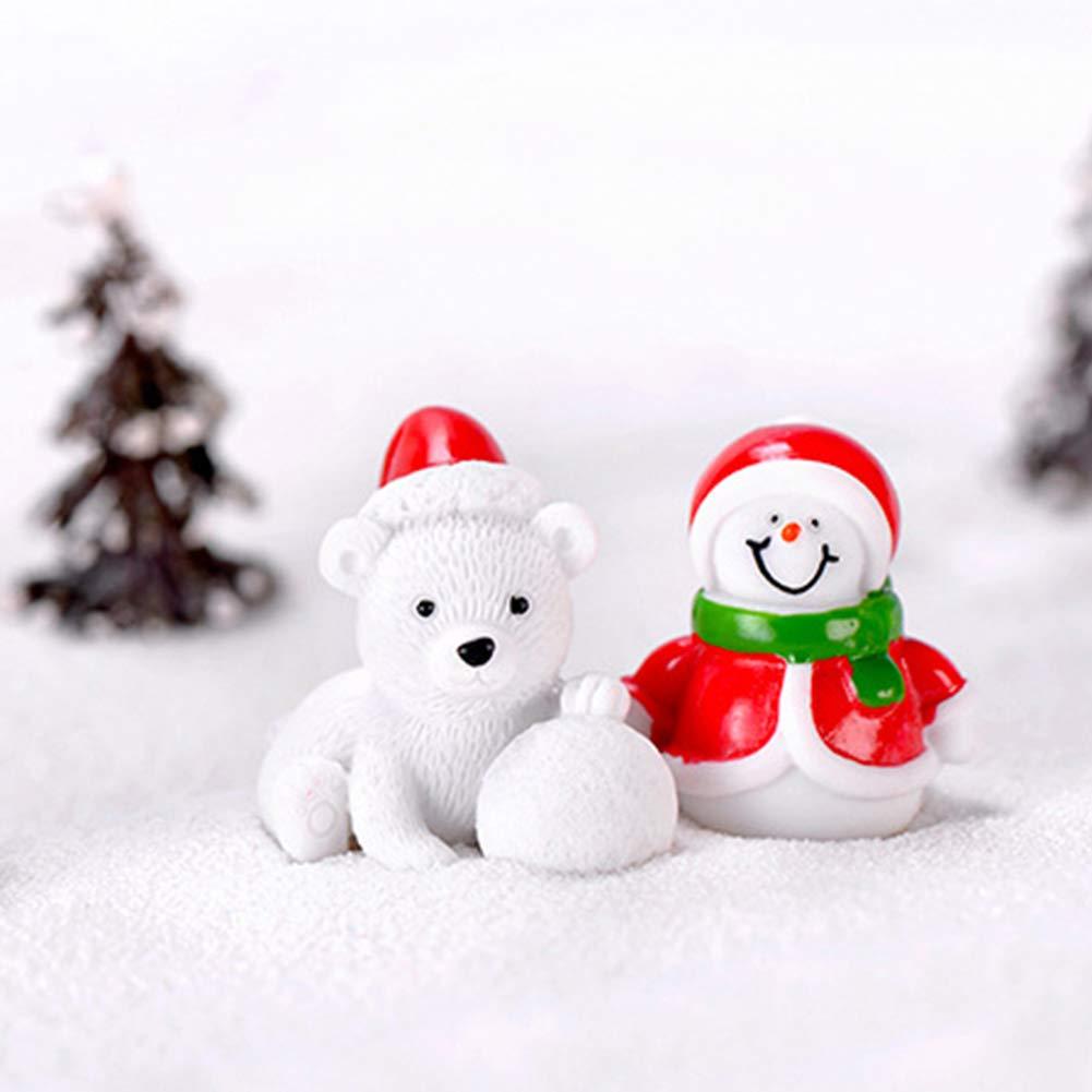 Feelava No/ël Miniature Ornament Kits Mini Style De No/ël Figurines P/ère No/ël Arbre De No/ël Mignon Dessin Anim/é De No/ël D/écor pour La Maison Garden Party Decor Bureau D/écoration Style A