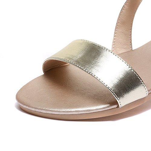 AalarDom Mujer Puntera Abierta Mini Tacón Pu Sólido Sandalias de vestir Gold
