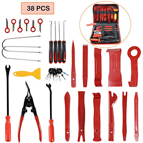 WHDZ 38Pcs Trim Removal Tool Car Panel Tool Radio Removal Tool Kit for Auto Clip Pliers Fastener Remover Pry Tool Kit