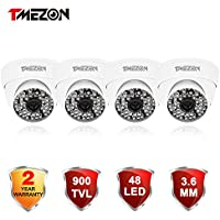 TMEZON 4 Pack 1/3 3.6mm 900TVL 960H Day Night Vision Dome CCTV Home Security Camera With IR Cut Filter 48PCS Infrared IR Leds Waterproof Camera