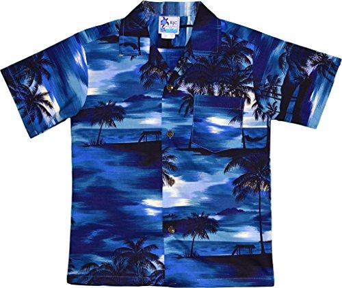 RJC Boy's Waimea Sunset Hawaiian Shirt Navy Blue 2 - Sunset Hawaiian Shirt