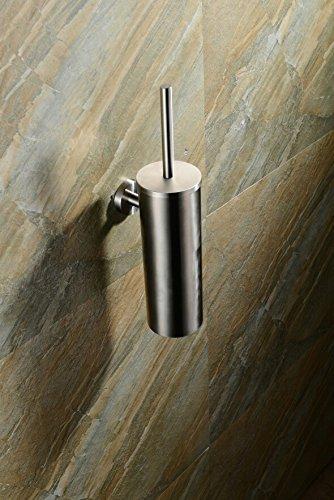 23013–2–Escobillero de WC,–Escobillero de WC,–, Escobilla WC Cepillo, soporte para cepillos de WC, acero inoxidable 18/8(sus304), mate, tamaño 395x 130x 90mm, a la pared montaje -Escobillero de WC Bene