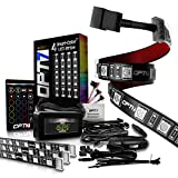 OPT7 Kit Aura Interior Car Lights LED Strip Kit-16+ Smart-Color, Soundsync, Door Assist, Show Patterns, and Remote-Accent Underdash Footwell Floor, 4pc Single Row