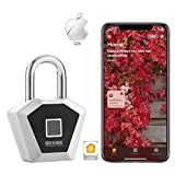 Fingerprint Padlock, Bluetooth Lock Metal Waterproof - Suitable for Gym Locker/House Door/Backpack/Suitcase/Bike/Office, Applicable to all Apple Products