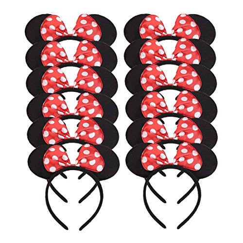 Set of 12 Mickey Minnie Mouse Costume Deluxe Fabric Ears Headband White Polka Dots Bow Boys Girls Birthday Party Hairs Accessories Baby Shower Headwear Halloween Party Favors Decorations (Red)