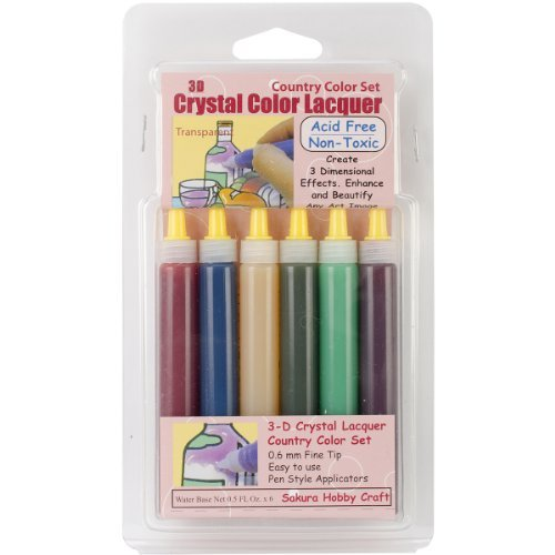 Brand New 3D Crystal Lacquer Color Pens 6/Pkg-Country .5oz Brand New ()