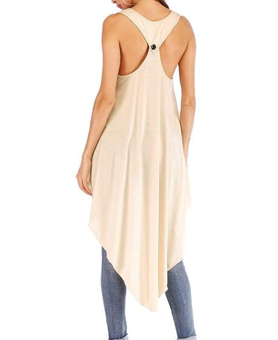 Joe Wenko Women Backless Irregular Pullover Sleeveless Hi-Low T-Shirt Top