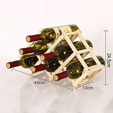 AMAZOM Estante para Botellas De Vino – Botelleros De Madera para Vino U Otras Bebidas – Vinoteca De Madera para 3/6/10 Botellas – Color Natural,Toasted Wood Color,B