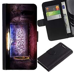 LASTONE PHONE CASE / Lujo Billetera de Cuero Caso del tirón Titular de la tarjeta Flip Carcasa Funda para Sony Xperia Z1 Compact D5503 / Question Everything Belief Quote Life World