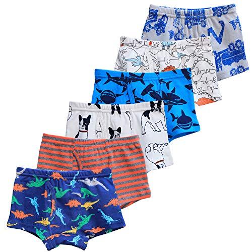 CHUNG Little Big Boys Soft Cotton + Modal Boxer Briefs Underwear 5 Pack Dinosaur Print 3-7Y, 4T, 99-Dog ()