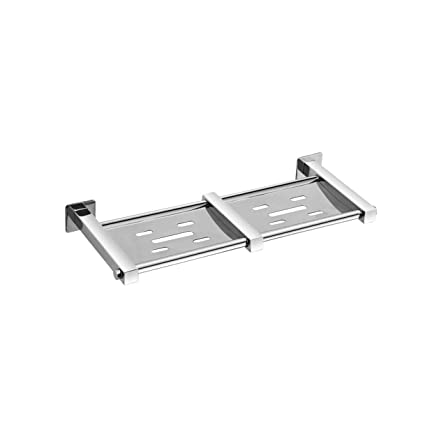 Acute (D-33) Double Soap Dish - Soap Stand, 304 Stainless Steel, Chrome (Silver Finish)