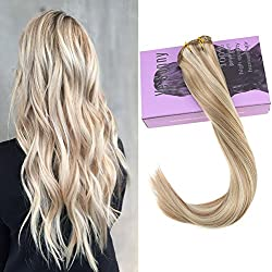 VeSunny 14inch Balayage Clip in Hair Extensions Thick Double Weft Clip in Real Remy Color #18 Ash Blonde Mixed #613 Bleach Blonde Hair Extensions 7pcs 120Gram Per Package