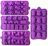 Silicone Molds for Candy and Chocolate - 4 Pack - Includes Lego, Bunny, Dinosaur, Robot and Baby Shower Designs for Gummies, Fondant and Ice Cubes