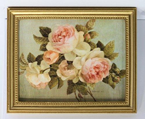 Dollhouse Artwork Large Gold Framed Pink Heirloom Roses