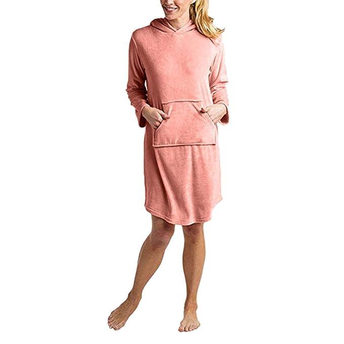 Linlink Ropa interior erótica Mujeres De Plata Fox Fleece Color SóLido Espesar con Capucha Bolsillo Casual Pijamas: Amazon.es: Ropa y accesorios