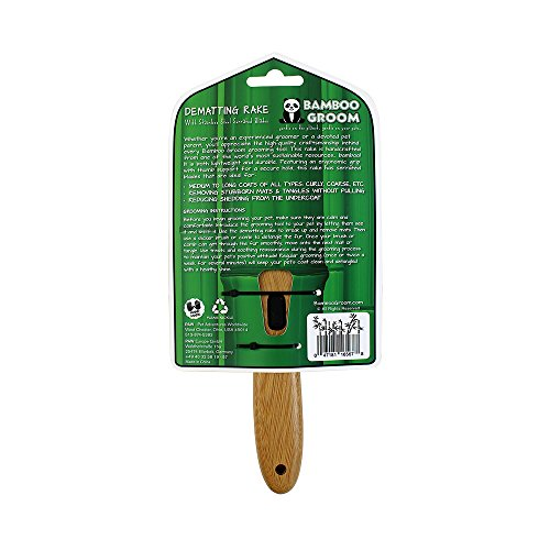 Bamboo Groom Dematting Rake with Stainless Steel Serrated Blades for Pets, Small/Medium by Bamboo Groom (Image #4)