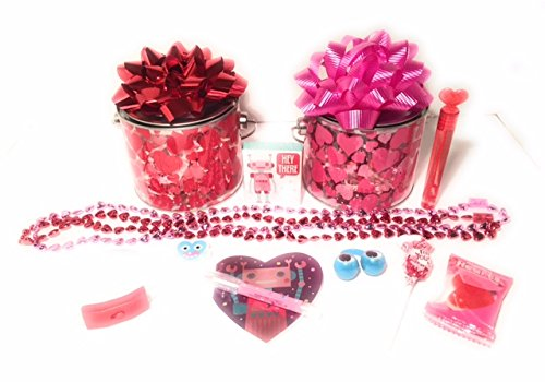 Happy-Valentines-Day-Kids-Gift-Basket-2-Basket-Set-Gifts-and-Candy-For-That-Special-Someone-10-Pieces-in-Each-Canister