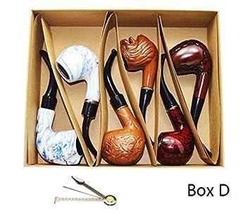 Smoking pipe, set of 6pcs, smoking pipe gift box, smoking pipe of steel &  acrylic, tobacco pipe (Box D)
