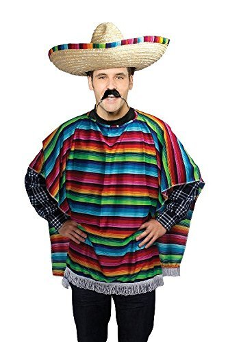 The Three Amigos Costumes (Mexican Three Amigos Poncho Male Budget Fancy Dress Costume - One Size by Parties Unwrapped)