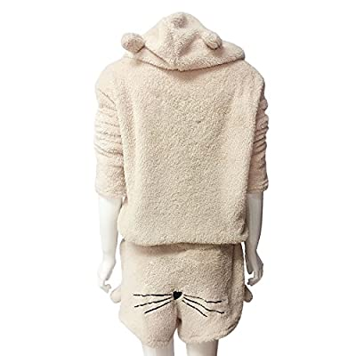 LEXUPA Women Solid Color Warm Winter Set Two Piece Cute Cat Pajamas Hoodie Sleepwear