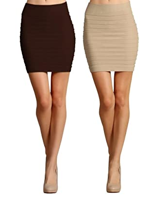 Simlu 2 Pack High Waisted Pencil Skirt for Women - Brown / Khaki ...