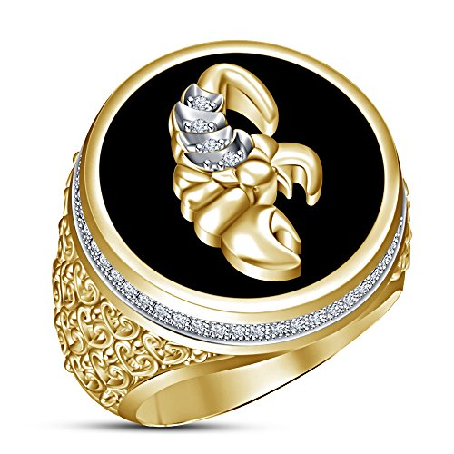 TVS-JEWELS Scorpio Zodiac Sign Men's Ring 14k Gold Plated 925 Sterling Silver Round Cut White CZ Black (7) 14k Zodiac Sign Ring