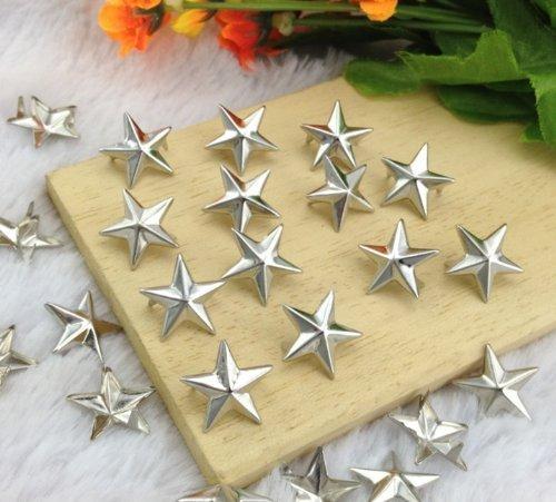 Stock Show 200Pcs 15MM Star Studs Metal Claw Beads Nailhead Punk Stud Rivet Spik, Silver ()