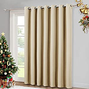 """100"""" Wide Patio Door Curtain - Energy Smart & Noise Reducing Grommet Thermal Insulated Wide Width Drapes, Sliding door Curtain by NICETOWN (Warm Beige, W100"""" x L84"""")"""