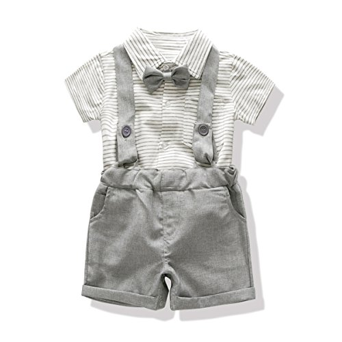 722fd189996 FERENYI US Baby Boys Bowtie Gentleman Romper Jumpsuit Overalls Rompers (0-6  Months
