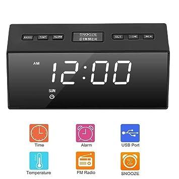 SUNSEATON Reloj Despertador Digital, Portátil Reloj Despertador Infantil con Radio FM Espejo HD, Función