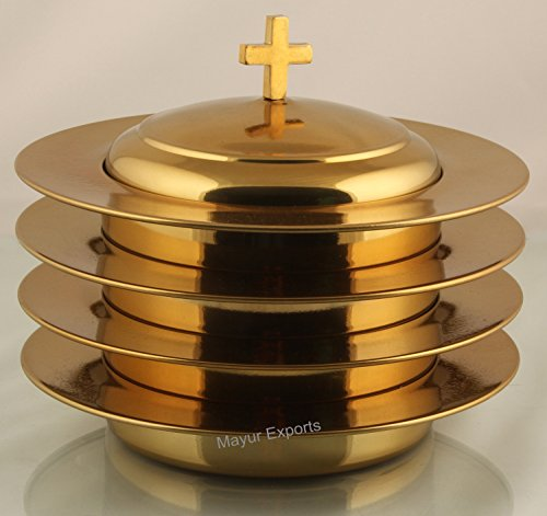 Brasstone- 4 Stainless Steel Communion Stacking Bread Plate with Cover ()