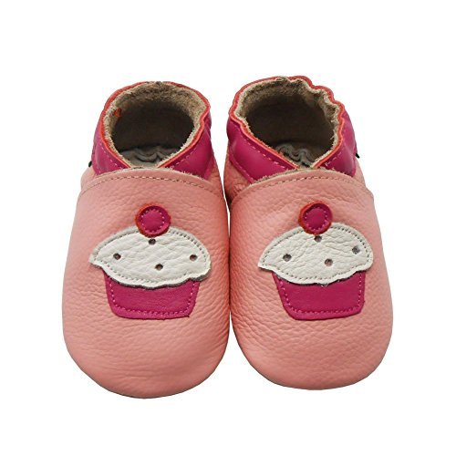 Sayoyo Baby Cute Cake Soft Soled Leather Baby Shoes Baby Moccasins(3-6 months,Pink)