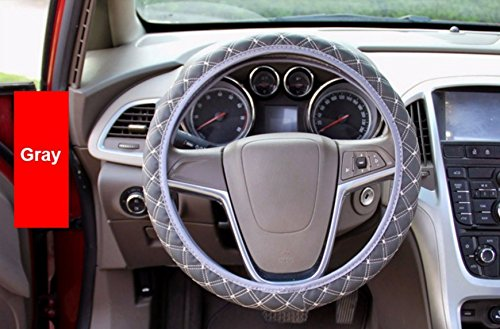 Gray PU Leather Steering Wheel Cover New Korean Plaid For Auto Car For Four Seasons General