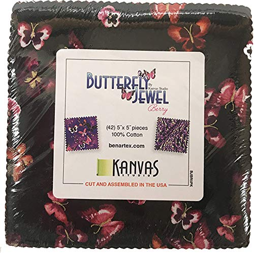 Kanvas Studio Butterfly Jewel Berry 5X5 Pack 42 5-inch Squares Charm Pack Benartex