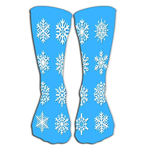 Outdoor Sports Men Women High Socks Stocking Snowflake Collection Isolated Blue Flat Snow Icons Snow Flakes Silhouette Nice Snowflakes Christmas bann Tile Length 19.7
