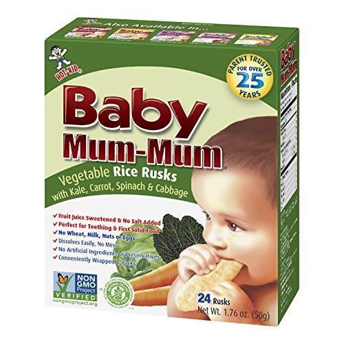Color Mum (Hot-Kid Baby Mum-Mum Rice Rusks, Vegetable, 24 pieces, (Pack of 6))