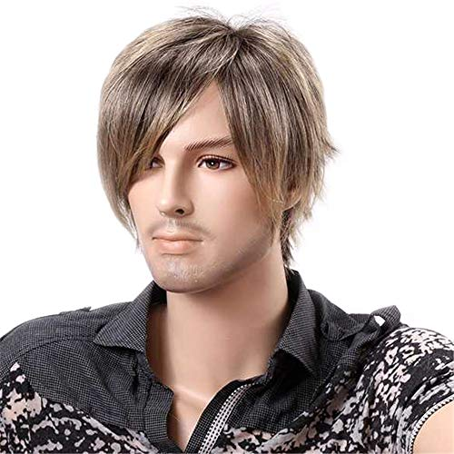 TopWigy Men Wigs Short Straight Wig 10 Inches Synthetic Cosplay Wig Emo Wig Ombre Blonde ()