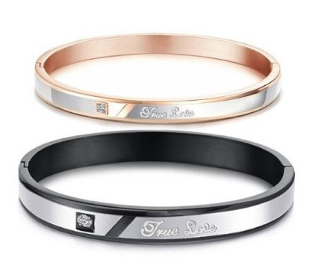 His or Hers Matching Set Couple Titanium Bangle Bracelet True Love Simple Korean Style Anti-fatigue in a Gift Box -BR204 (His)