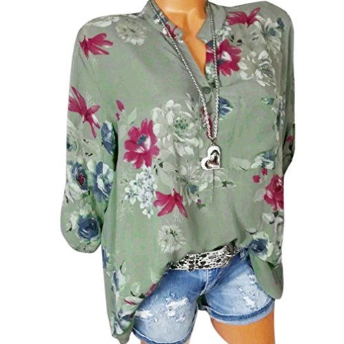 Floral Neck Mousseline Mode Femmes Longues en Taille Poche Pull Imprimer Soie Chemise Tops Blouse VJGOAL Manches Plus Bleu Hauts Vert V La De xT4vT