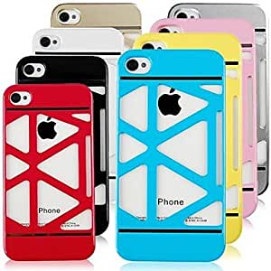 Mini - Solid Color Skeleton Hard Case for iPhone4/4S , Color: Blue