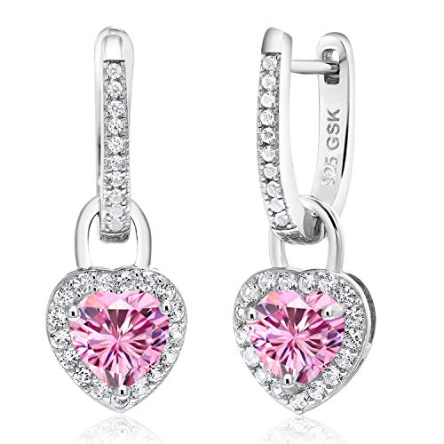 - Gem Stone King 925 Sterling Silver Dangle Earrings Heart Shape Pink Created Moissanite and Created Sapphire White 1.60ct (DEW)
