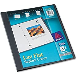 Avery 47781 Lay Flat Report Cover, 3-Fasteners, 1/2 Cap, 8.5 x 11, Gray, 1/Each