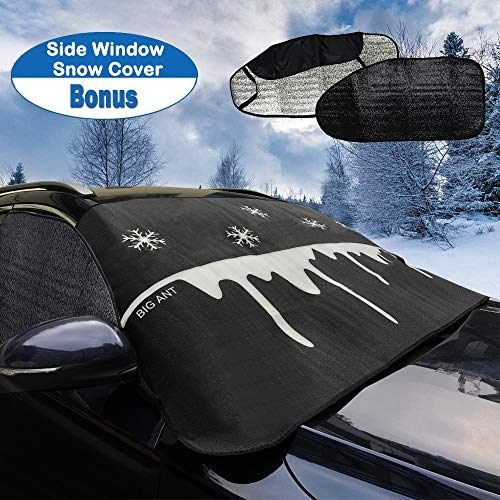 Big Ant Windshield Snow Cover & 2PCS Side Window Snow Cover, Ultra Thick Windshield Snow and Ice Cover 100% Waterproof Frost Protector for Cars Trucks Vans & SUVs (Black Set-Snowflake Design)