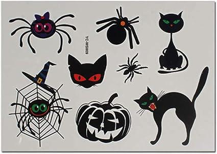 4 hojas de dibujos animados gato araña calabaza Halloween tatuaje ...