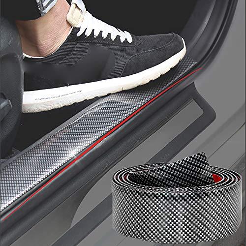 Rubber Rear Guard Bumper Protector - SEAMETAL Carbon Fiber Car Sticker Protector Kit for Toyota RAV4 for Most Truck SUV,Light Wight,Flexible and Bendable Door Sill Scuff Bumper (8ft DIY Bumper)